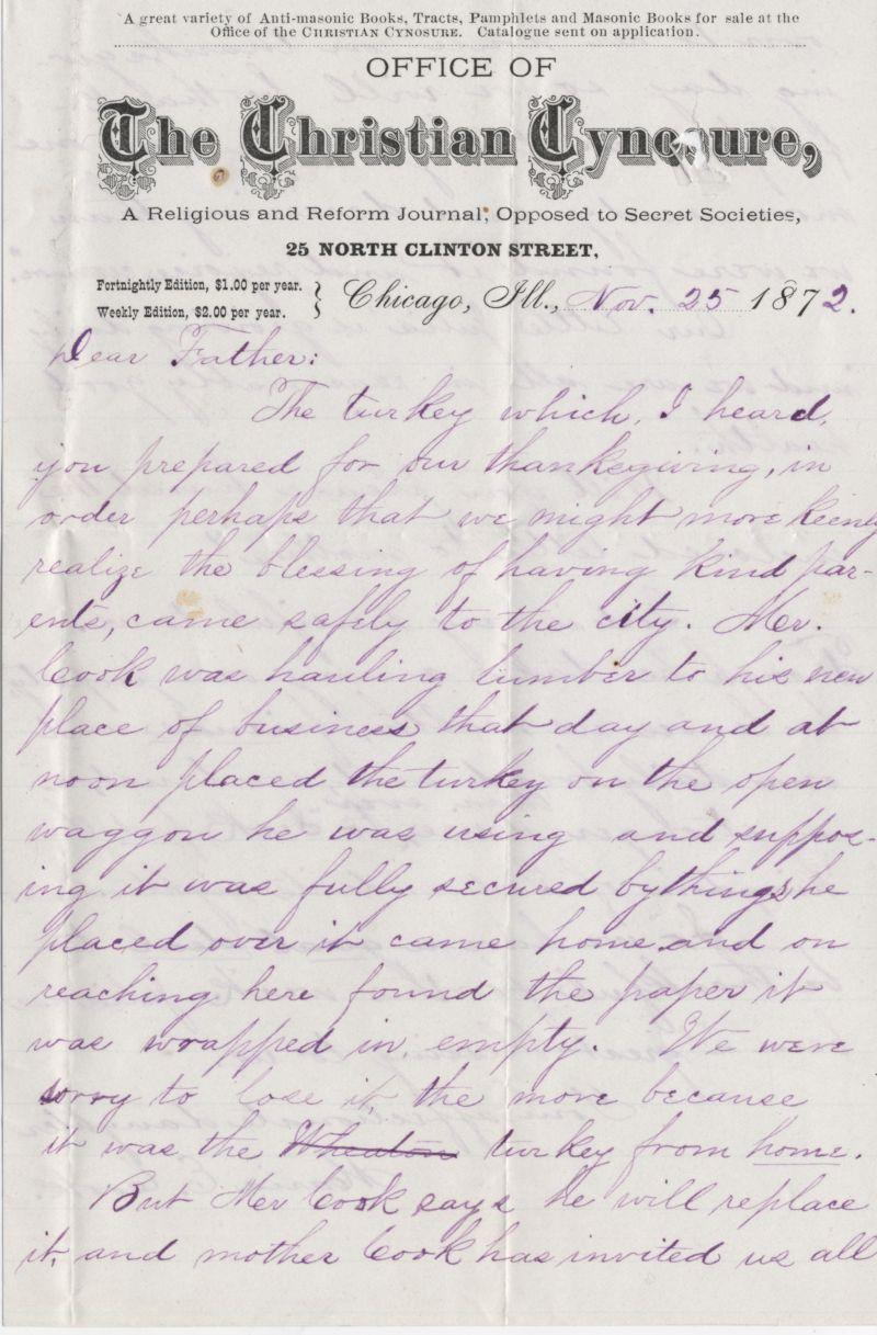 Nov. 25, 1872 Letter