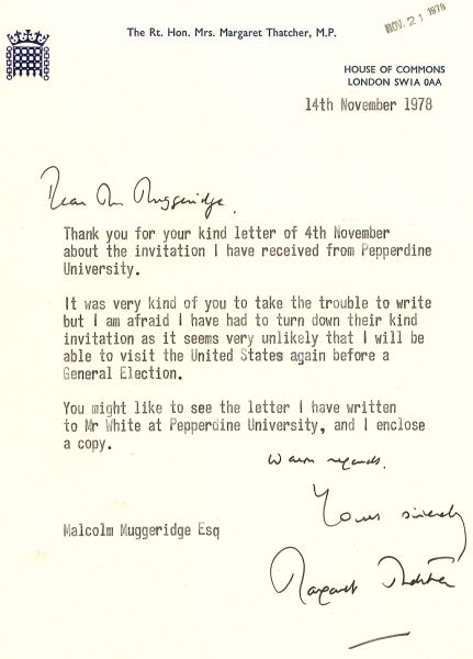 Special collections recollections page 3 malcolm muggeridge and the iron lady thecheapjerseys Gallery