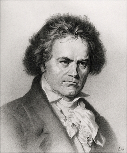 Charcoal drawing of Beethoven by Chambers