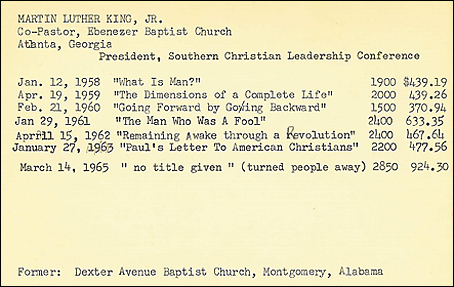 Speaker Index Card - Chicago Sunday Evening Club Archives (CHS)