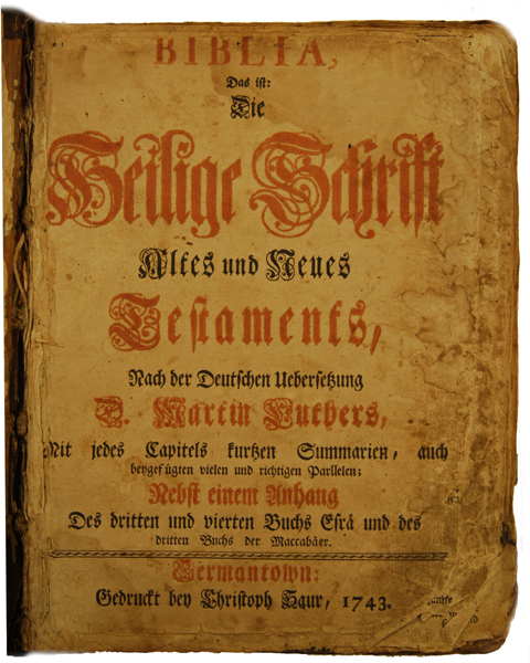 Sauer Bible - Title page